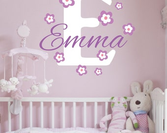 Custom Personalized Name And Initial Flowered Vinyl Wall Decal Sticker