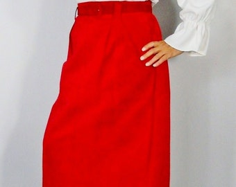 Vintage Skirt 1980's Vintage Suede Skirt Straight Leather Fire Engine Red Lord and Taylor Size 12
