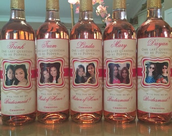 Bridesmaid Photo Wine Labels - Wine Bottle Labels for Bridesmaids - Elegant Custom Labels Weddings