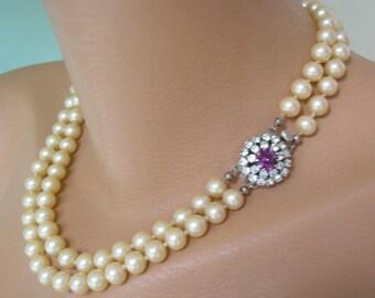 Amethyst Necklace, Pearl Bridal Choker, Purple Jewelry, Great Gatsby, Bridal Pearls, Art Deco, Rhinestone, Bridal Necklace, Pearl Necklace