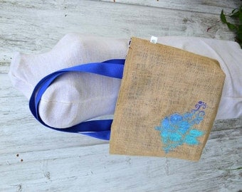 Handmade Hibiscus Hawaiian Flower Folded Burlap Tote Bag