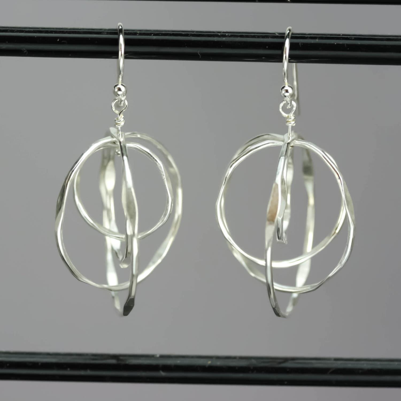 Sterling Silver Spinning Hoop Earrings Nickel Free Dangle