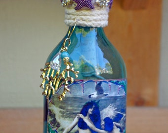 Vintage Nautical Altered Bottle Mixed Media