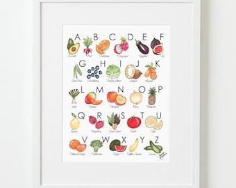Fruit & Veggie Illustrated Alphabet Art Print