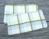 SALE Quilted Zipper Pouch Small Clutch Pouch Wallet Unisex Black White Yellow Stripe
