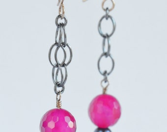 fuchsia chalcedony and pearl sterling silver earrings
