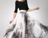 White print black chiffon skirt maxi skirt women skirt (1295)