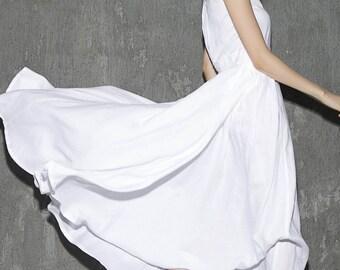 White linen dress maxi dress women dress long prom dress(1304)