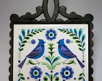 Retro Cast Iron and Tile Trivet with Blue Jays, New in Box, Kitchen Decor,  Props, Gifts Under 15