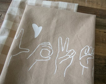 Tea Towel, Wheat L-O-V-E in Sign Language