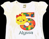 Embroidered Girl Lego Birthday Shirt Blockhead Shirt Lego Shirt for Girls Personalized, Any Age by Sprinkles of Love