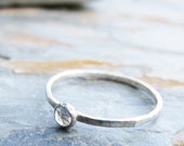 3mm Tiny Rose Cut White Topaz Promise Ring or Stacking Ring in Sterling Silver - Super Thin Micro Stacker with Smooth or Hammered Band