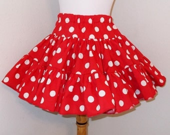 Fluffy Minnie inspired Red & White Polka Dot Square Dance Twirly Skirt, Baby Infant Toddler Girls. Many other colors