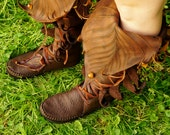 Knee High Evolution Boot / Tall Moccasin Hand Stitched Bullhide With Cowhide Leaf Applique / Hobbit LOTR LARP Renaissance Festival Brown