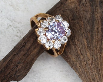 Vintage Women's White and Pink-Lavender Crystal Dinner Cocktail Ring, Size 9.5