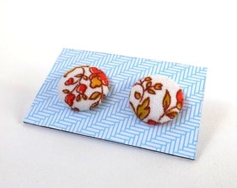 White Orange and Brown Floral Print Vintage 1970s Fabric Button Earrings