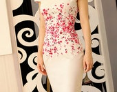 Floral vintage look pencil dress custom made all size