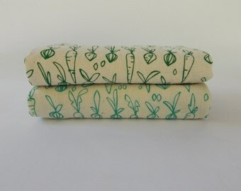 Flour Sack Towel, Hand Printed, Veggies, Cotton