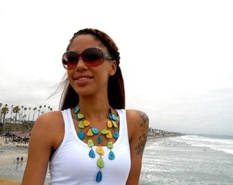 Waterfall tagua necklace/tagua jewelry/seafoam/mint/aqua/orange by Allie