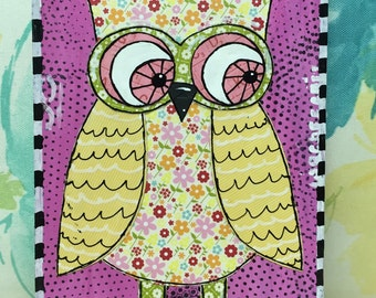 """Original Mixed Media Painting on Wood Block - Painting Home Decor Artwork - Folk Art - Whimsical """"Owl Be Seeing You"""""""