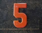 NUMBER 5 Vintage Metal Numbers 2-3-5-7-8-0 CENT Marquee Signage  -4-