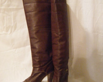 Vtg 1970s Maroon Leather Slouchy Tall boots by Dingo size 7.5 M