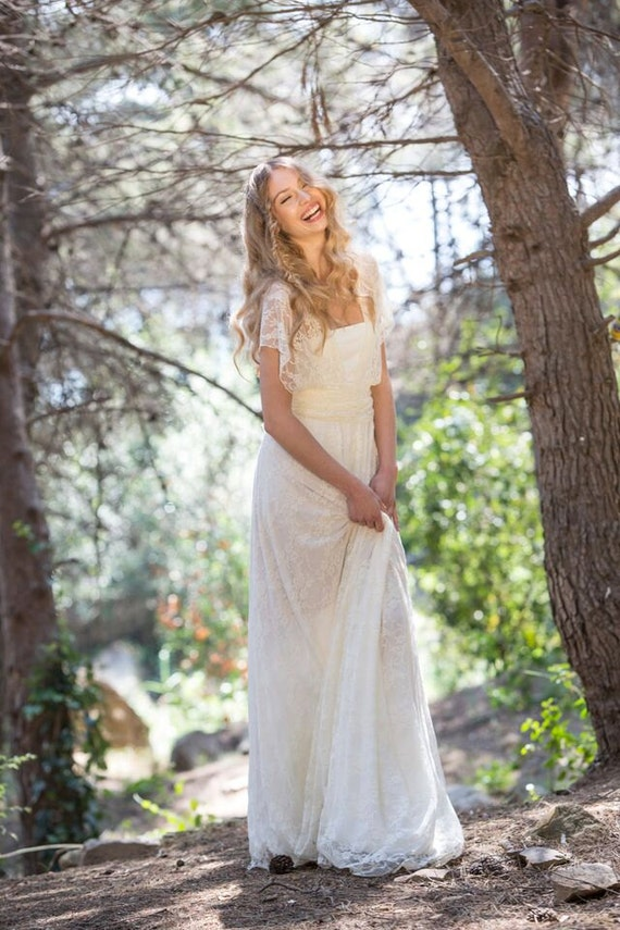 Boho Lace Wedding Dress Etsy : Lace wedding dress bride marriage boho
