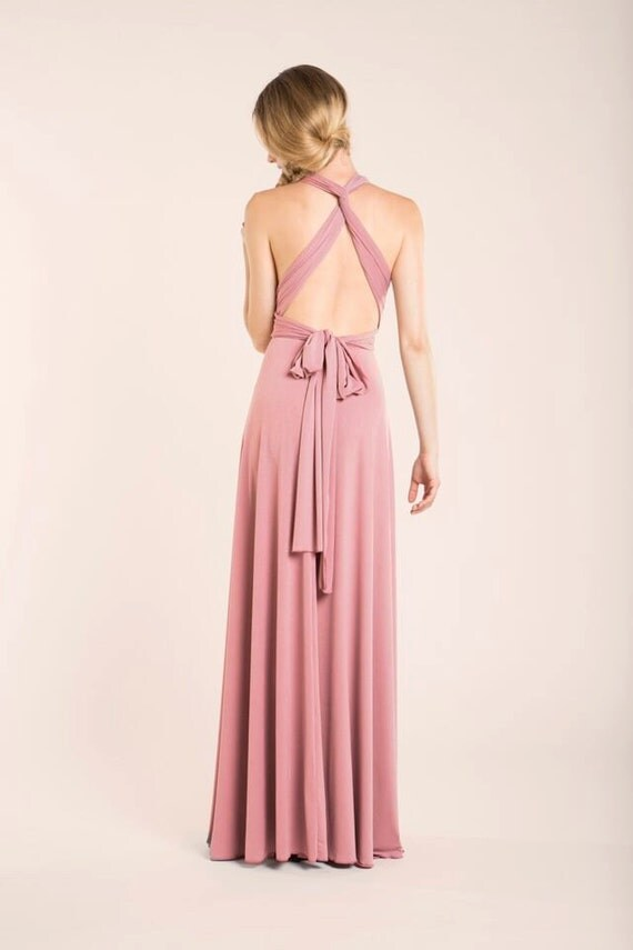 Powder pink bridesmaid long dress- bridesmaids dresses- blush pink ...