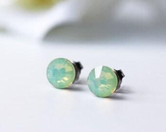 Mint Opalescent Swarovski Crystal Titanium Earrings Chrysolite Opal Dainty Everyday Studs