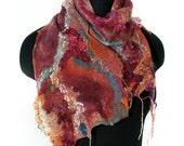 Nuno Felted Scarf Handmade Felt Scarf Hand Dyed OOAK Textured Felt Gift Multicolor Wool Silk Scarf
