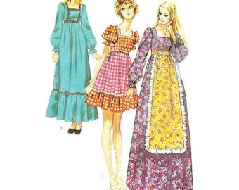 1970s Mini or Maxi Peasant Dress Granny Dress Pattern Simplicity 9486 B31.5 Sz 8
