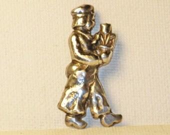 Vintage Sterling Silver Dutch Boy with Tulip Figural Brooch Pin (B-1-5)