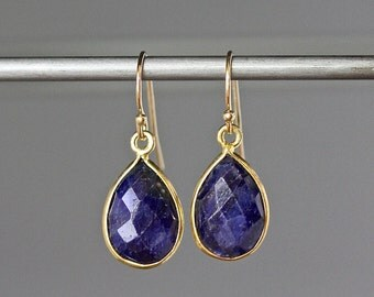 Blue Sapphire Earrings - Sapphire Bezels - September Birthstone - Sapphire and Gold - Faceted Sapphire Earrings - Birthday Gift for Her