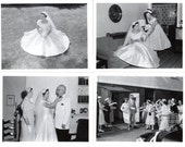 Vintage Wedding Photos Set of 16 / Church Wedding Bride Groom Family Black and White Picture and 2 Newspaper Clippings Wedding Announcement