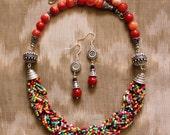 Multicolor Necklace, Bohemian Jewelry, Beadwork Necklace, Multicolor Statement Necklace, Braided Necklace, Necklace Set