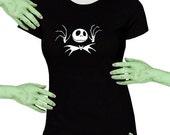 Voodoo Sugar Jack Skellington With Bat Tie Black Missy Fit t-shirt Plus Sizes Available