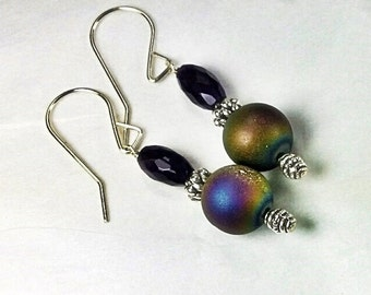 Rainbow Titanium Druzy and AAA Grade Amethyst Dangle Earrings with Handmade Sterling Wires