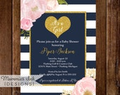 Watercolor Peonies Baby Shower Invitation, Navy and White Stripes Shower Invitation, Gold Glitter Heart, Watercolor Roses, Glitter Invite