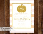 Orange and Blush Pink Stripe Gold Pumpkin First Birthday Party Invitation, Gold Glitter Pumpkin, Little Pumpkin, 1st Birthday Invitation