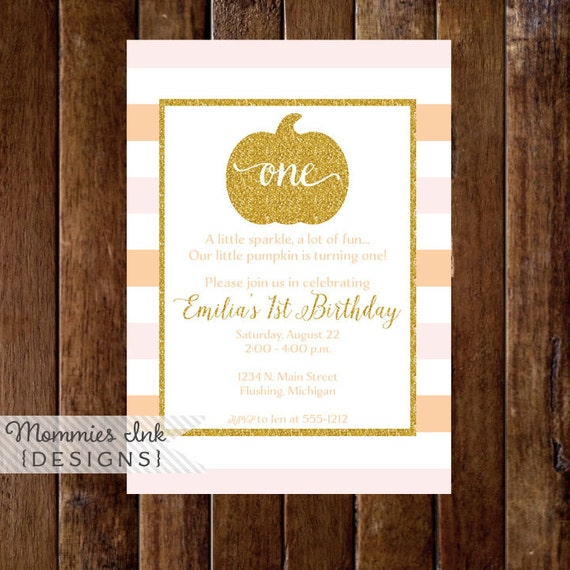 Orange And Blush Pink Stripe Gold Pumpkin First Birthday Party Invitation Glitter Little 1st