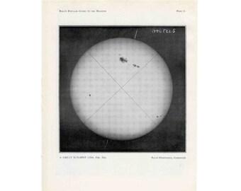 1955 SUN SOLAR SPOTS prints original vintage celestial astronomy lithographs - the great sun spot