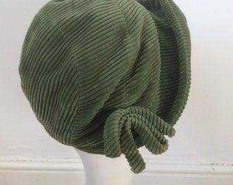 1920s 1930s  Sage Green Jumbo Corduroy Hat by Jacoll