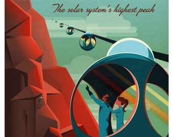 mid century style space travel poster mars illustration digital download