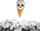 Skull I-Scream Brooch, ice-cream brooch, dessert jewelry, ice-cream jewelry, vegan brooch, vegan jewelry
