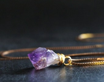 Amethyst Necklace / February Birthstone / Crystal Jewelry / Raw Amethyst Crystal / Amethyst Point / Vintage Brass / Birthstone Necklace