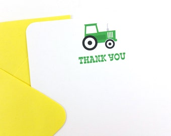 Green Tractor Thank You Notes, Tractor Stationery - SET OF 12