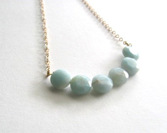 Aqua blue amazonite stone necklace on delicate 14k gold plated chain, gemstone, 5 beads
