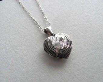 Gorgeous sterling silver engraved starburst vintage heart locket necklace, vintage sweetheart, vintage bridal necklace