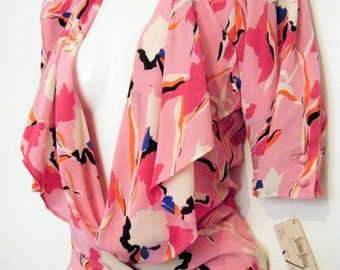 vintage 1980s UNGARO SOLO DONNA Paris Silk Wrap Blouse with plunging V neckline, brand new with original tags, size l