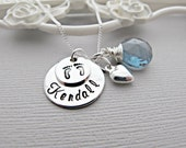 New Mom Necklace, Personalized Hand Stamped Jewelry, Monogram Name, Sapphire Birthstone, Heart Necklace